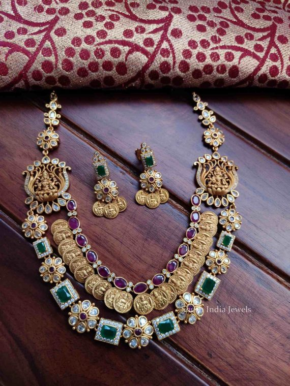Traditional Real Kemp Lakshmi Coin Necklace