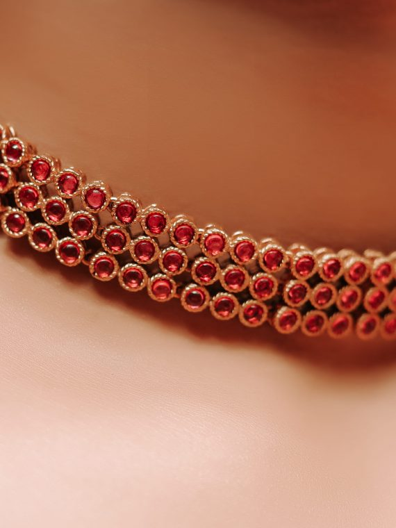 Traditional Ruby Choker with Earrings