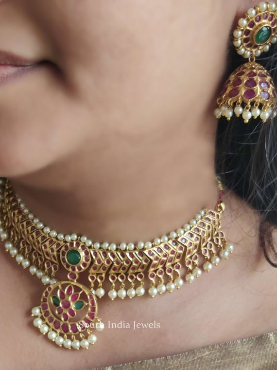 Traditional Temple Necklace With Jhumkas-01