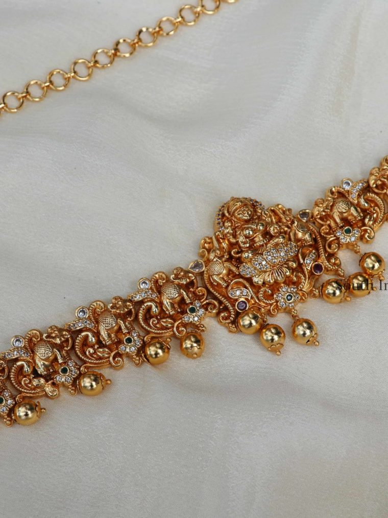 Traditional Temple and Elephant Gold Beads Hip Chain-01