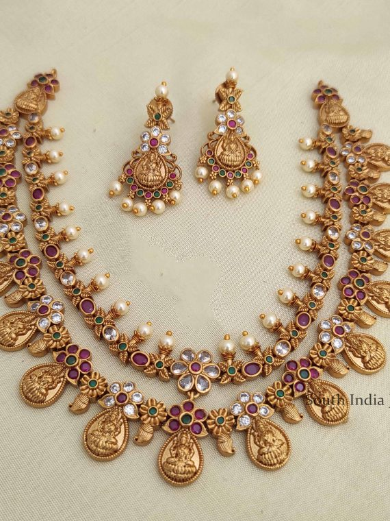 Traditional Wear Two Layer Uncut Design Necklace-01