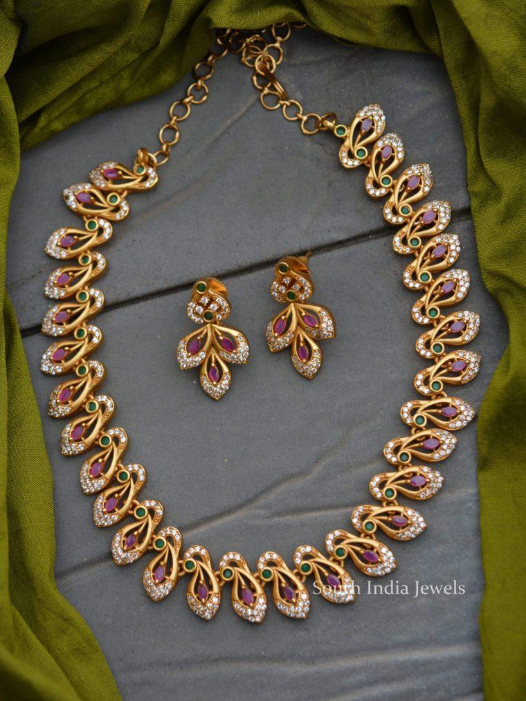 Trendy Diamond Alike AD Stone Necklace