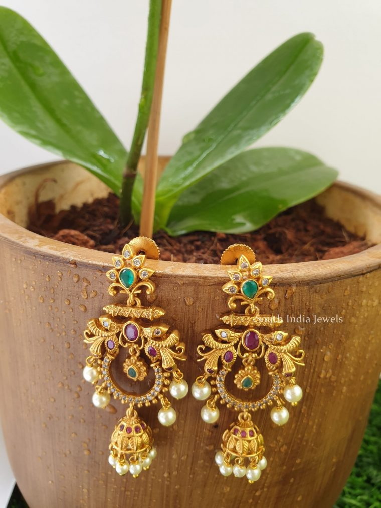 Trendy Matte Finish Chandbali Earrings