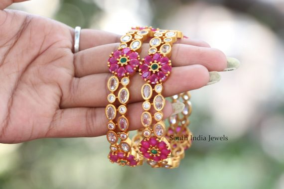 Unique Flower Design Multi Stone Bangles