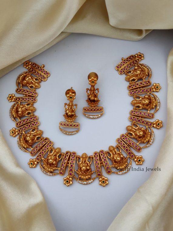 Unique Ganesha Design Matte Finish Necklace