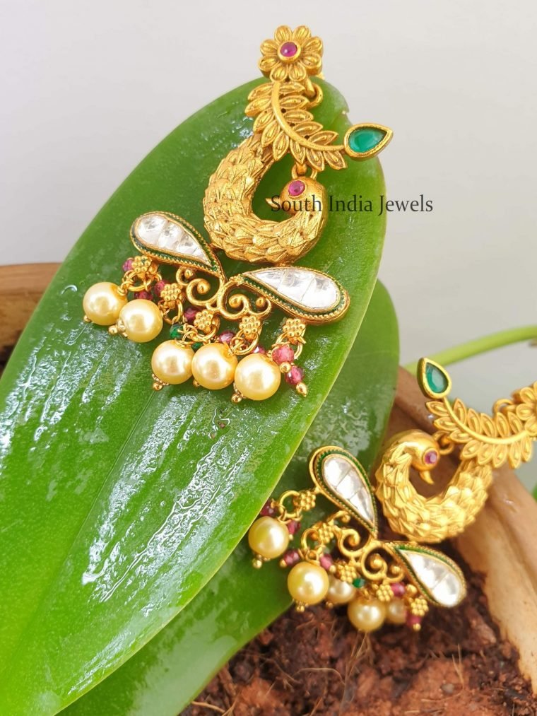 Unique Matte Finish Kundan Earrings
