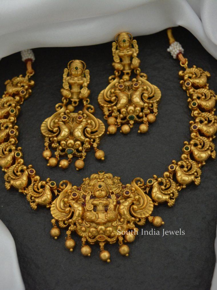 Unique Peacock Design Lakshmi Necklace