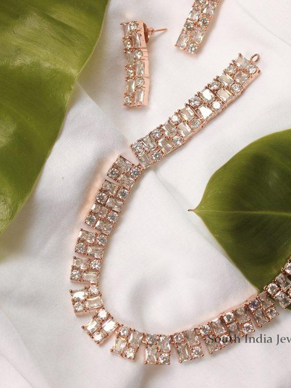 Unique Rose Gold Necklace Set