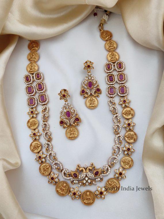 Unique Two Layer Peacock & Lakshmi Design Necklace