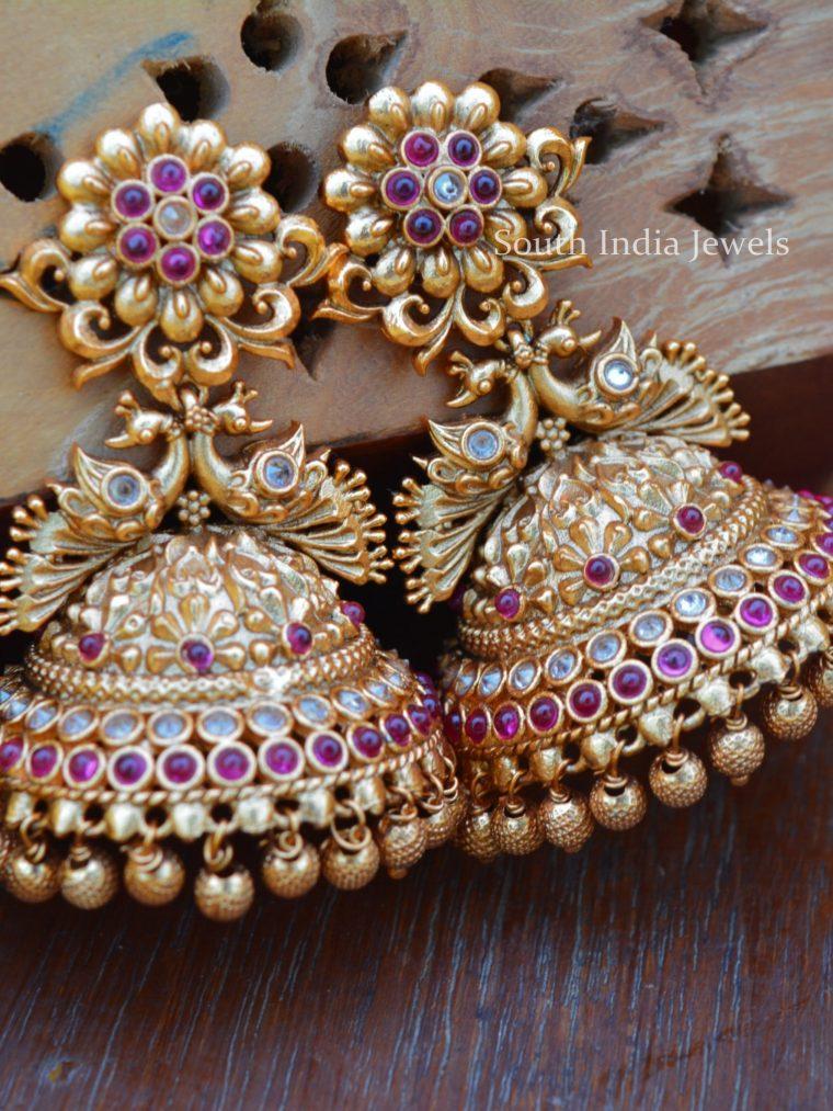 Alluring Gold Bead Peacock Jhumkas