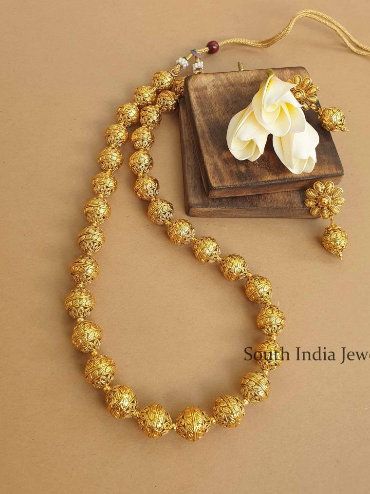 Antique Finish Beads Midlength Necklace