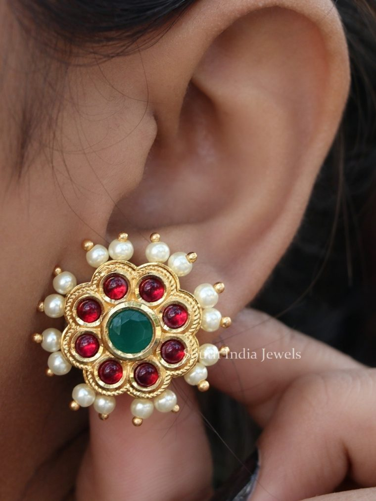Antique Ruby Floral Studs (2)