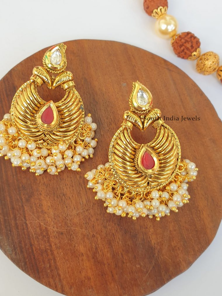 Beautiful Antique Finish Chandbali Earrings