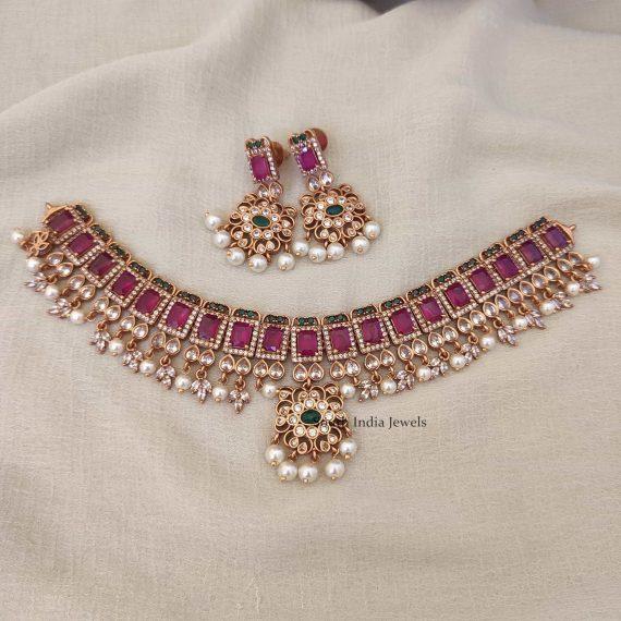 Beautiful CZ Tri Colour Necklace-03