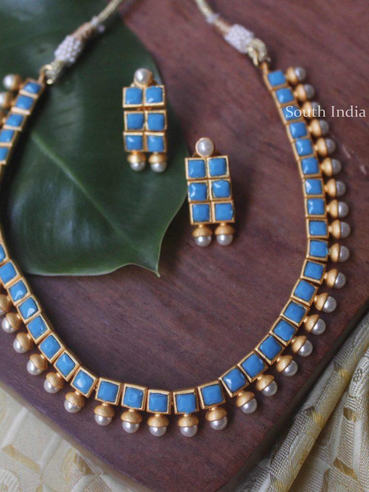 Beautiful Cyan Blue Necklace Set