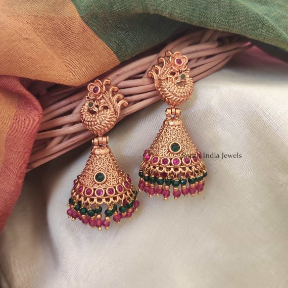 Beautiful Dual Beaded Jhumkas-01