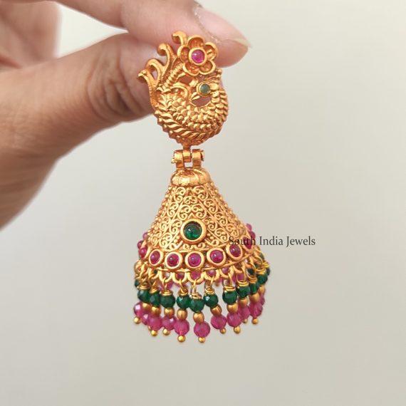 Beautiful Dual Beaded Jhumkas-02