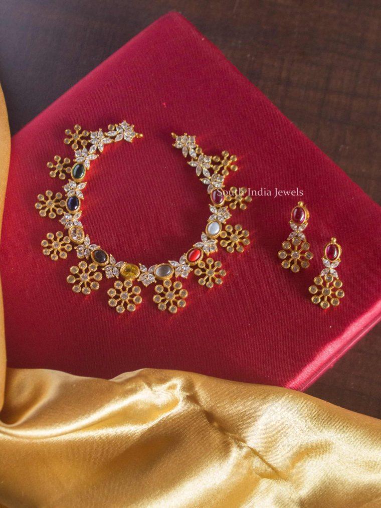 Beautiful Flower Design Navarathna Choker