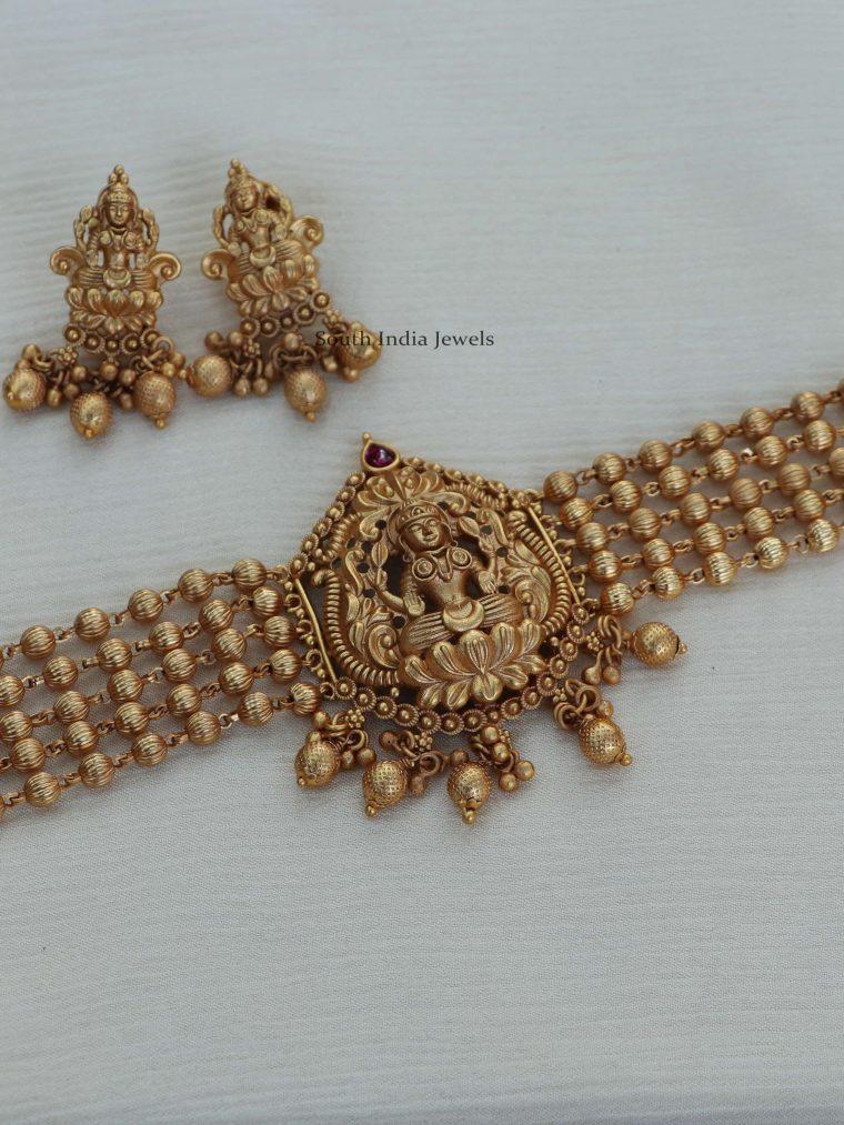 Beautiful Gold Beads Lakshmi Choker