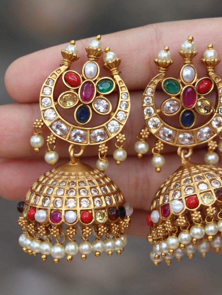 Beautiful Navarathna Chandbali Jhumkas