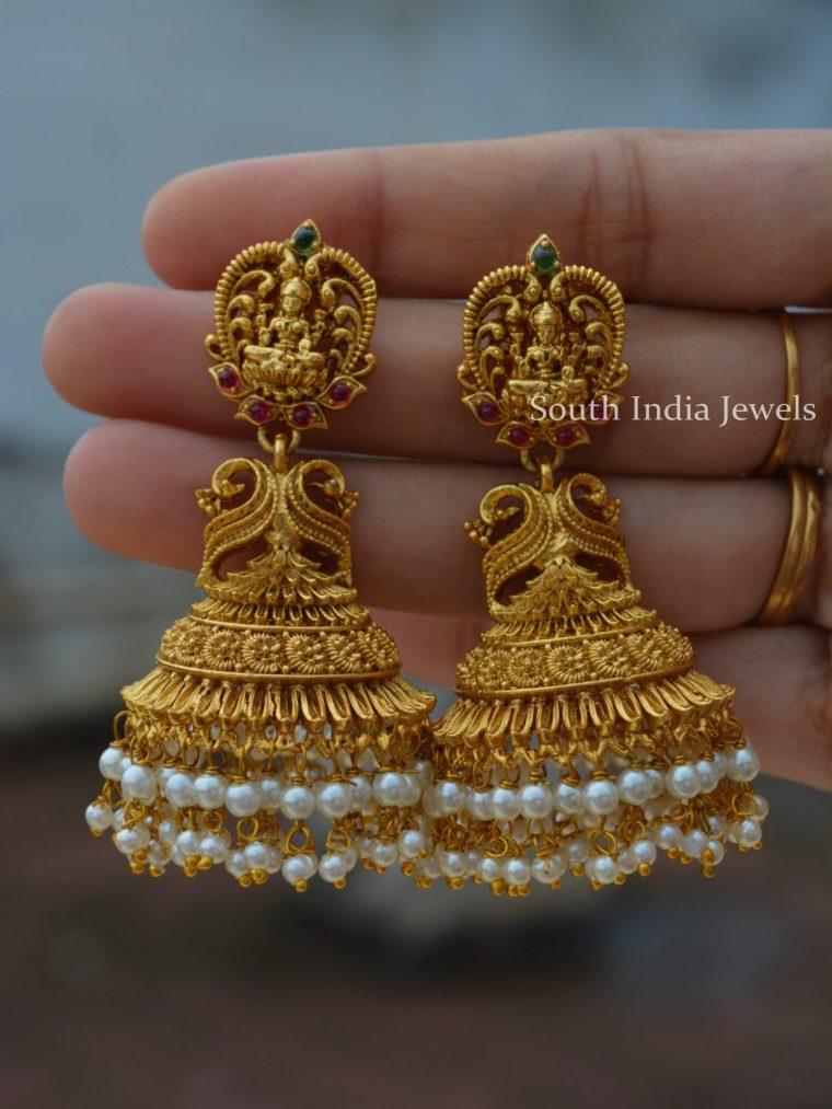 Beautiful Pearl Lakshmi Jhumkas