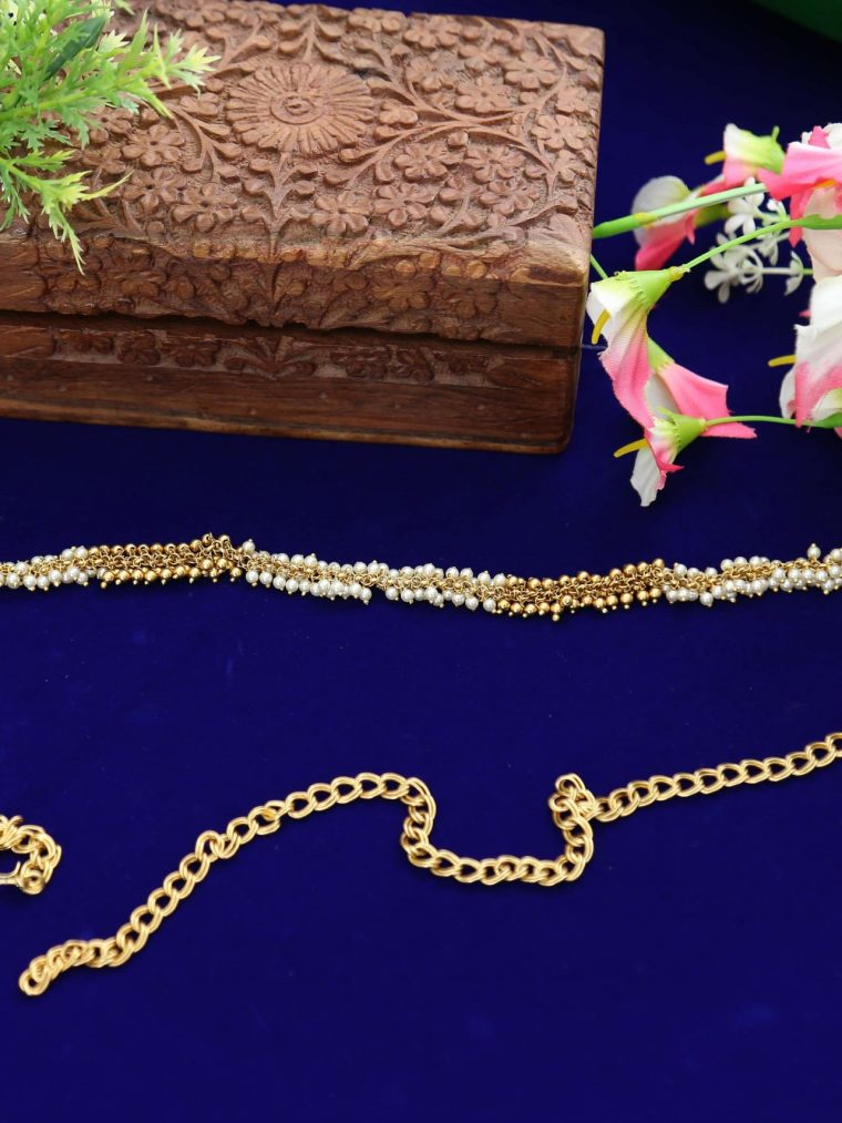 Beautiful Pearl and Gold Beads Hip Belt