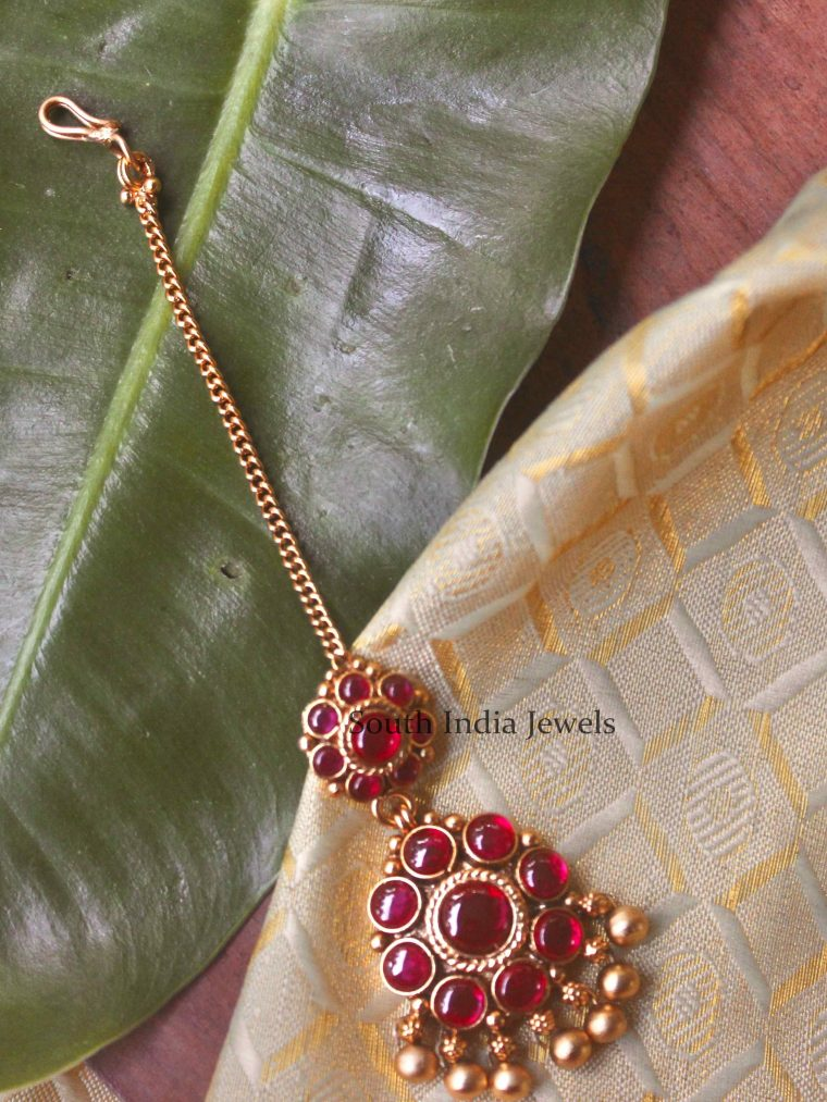 Beautiful Real Kemp Ruby Tikka with Golden Beads