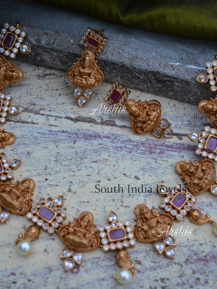 Beautiful Ruby & AD Lakshmi Necklace (2)