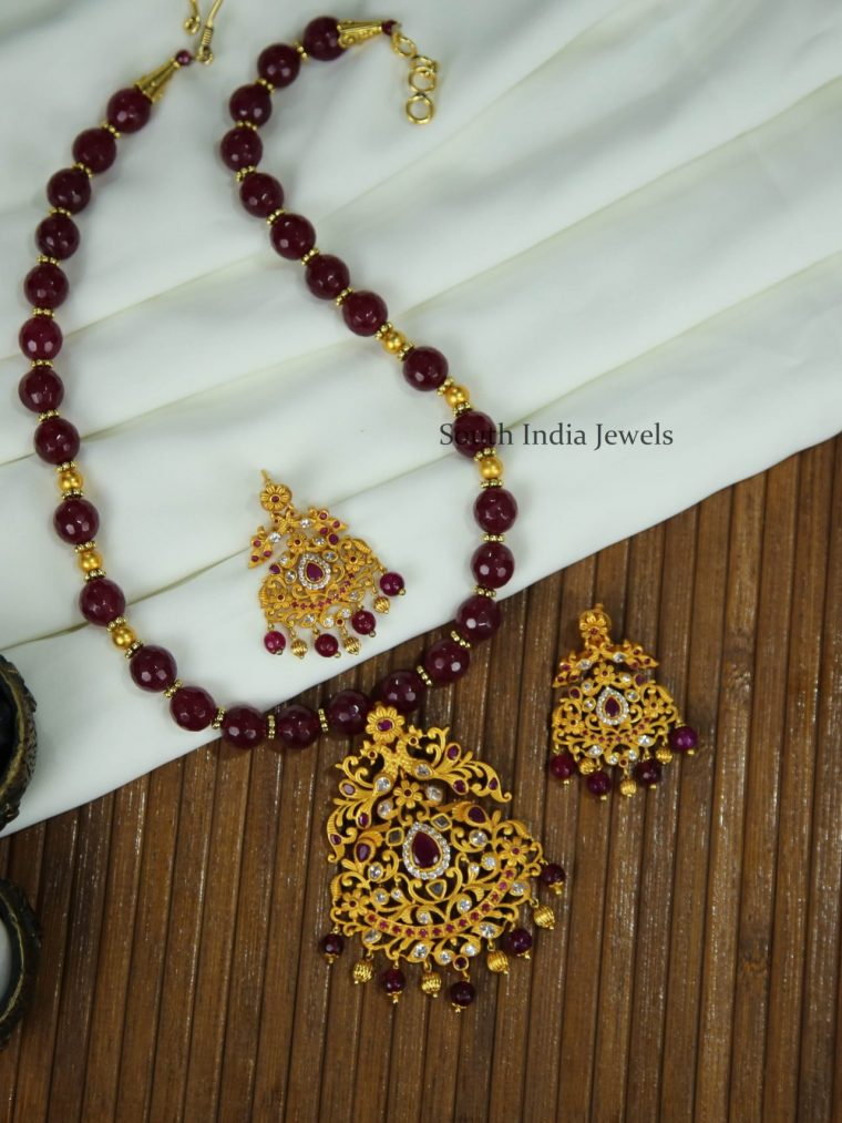 Beautiful Ruby Beaded Necklace