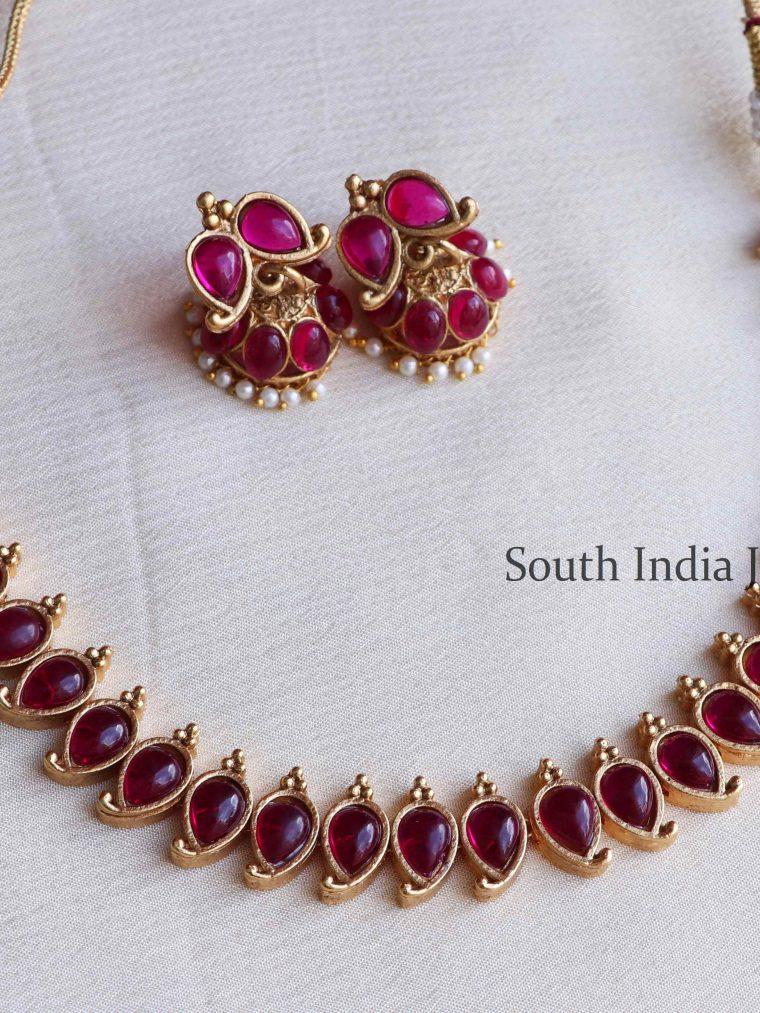 Beautiful Ruby Mango Design Necklace (2)
