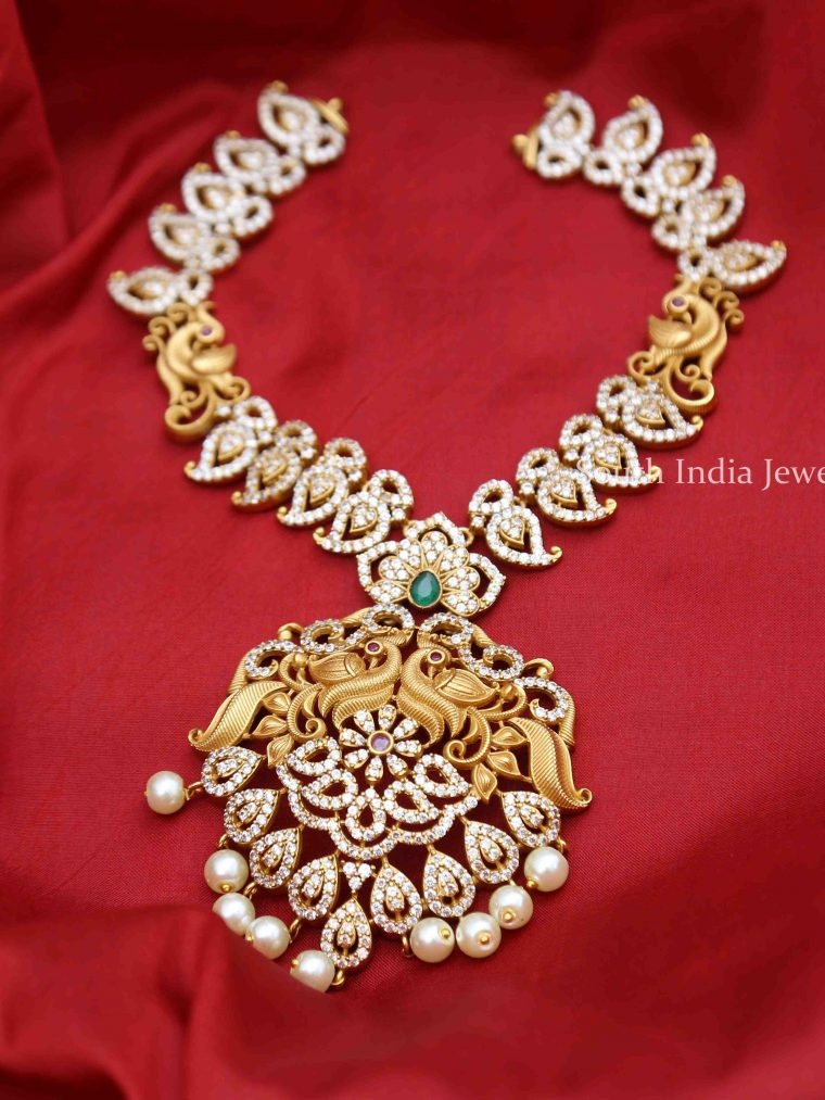 Bridal AD Peacock Design Necklace - 01