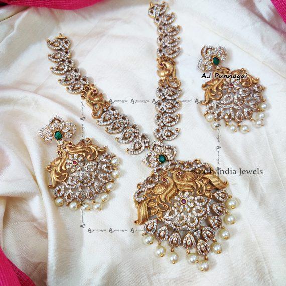 Bridal AD Peacock Design Necklace