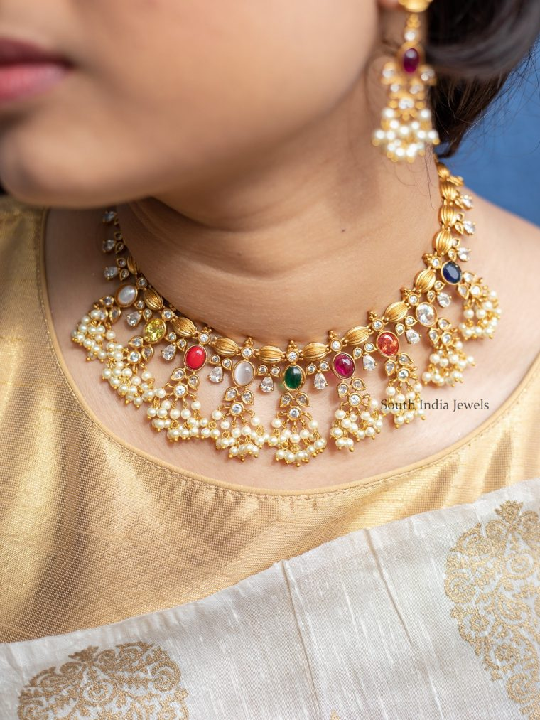 Classic Navarathna Guttapusalu Pearl Necklace-01