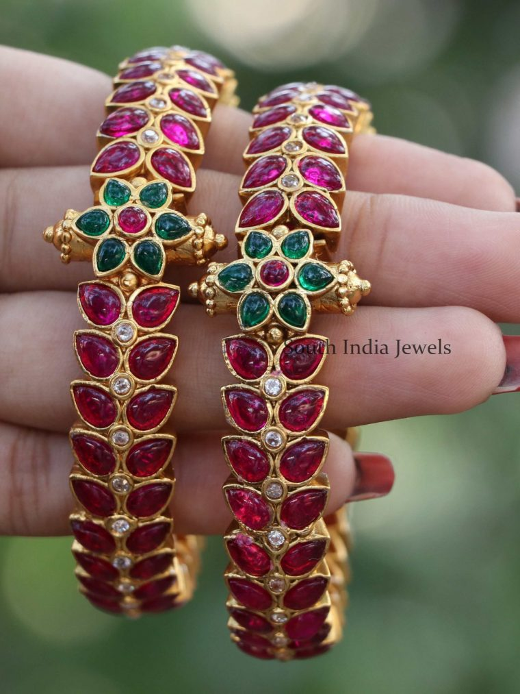 Classic Ruby Floral Bangles