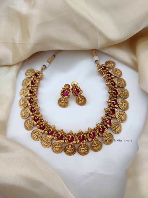 Classic Ruby Ganesh Coin Necklace-01
