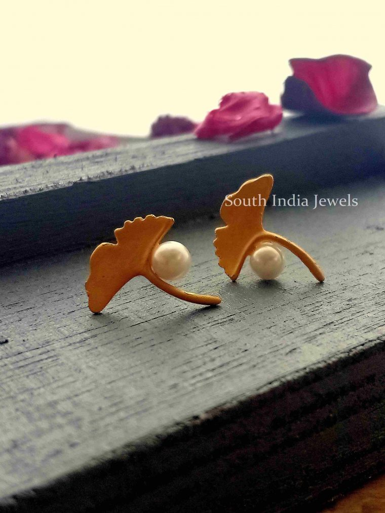 Designer Leaf Tiny Studs with Pearls-02
