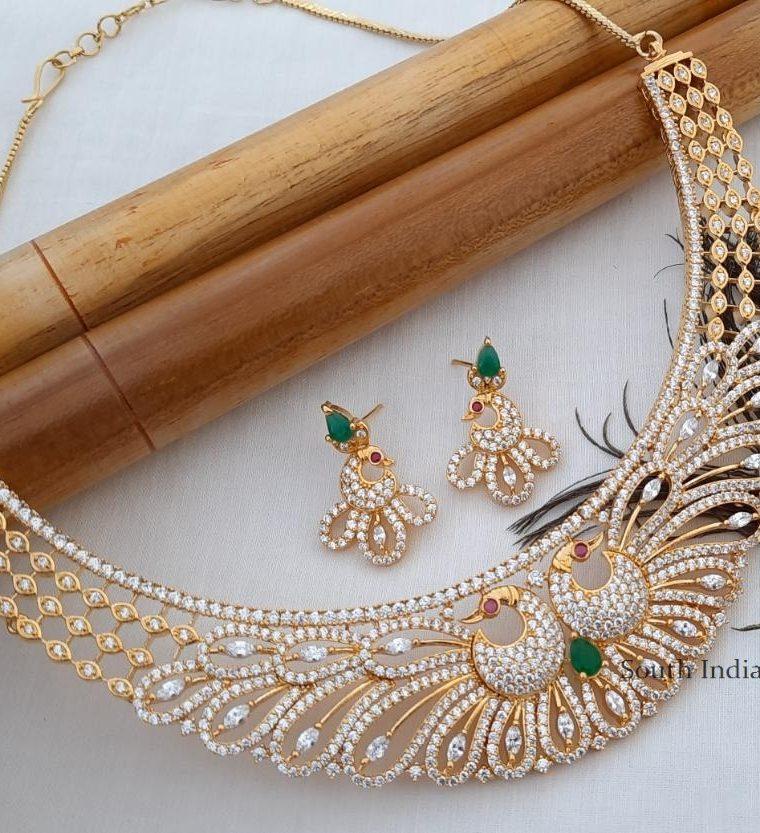 Elegant CZ Stone Peacock Necklace