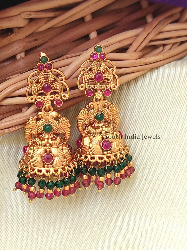Elegant Double Peacock Beaded Jhumka-01