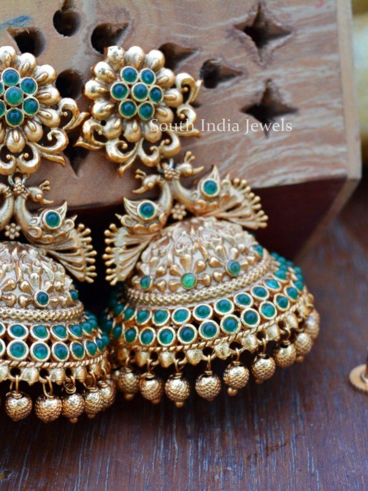 Elegant Gold Bead Peacock Jhumkas