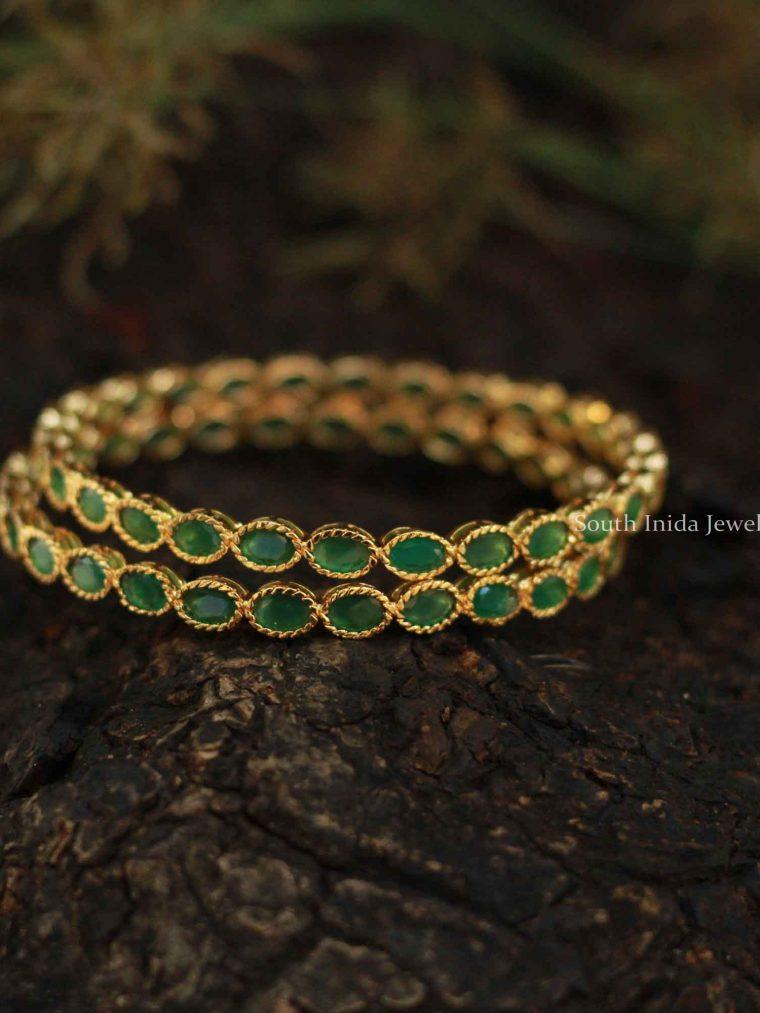Elegant Green Stone Bangles