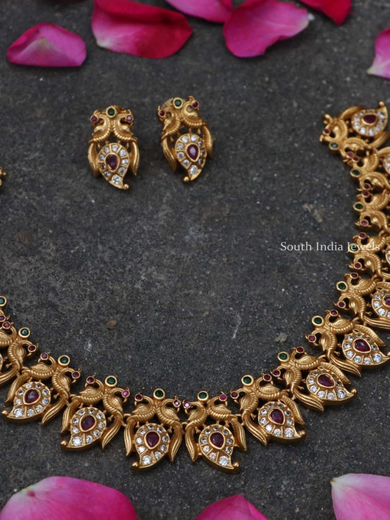 Elegant Matte Finish Peacock Necklace