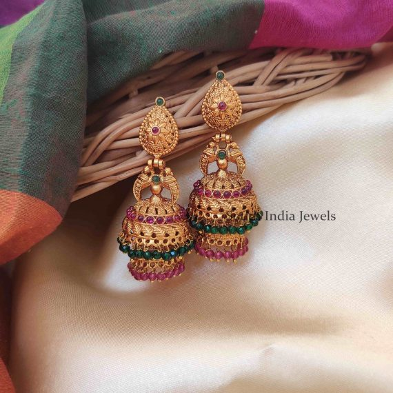 Excellent Mutlistone Two Layer Jhumkas