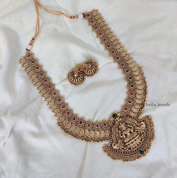 Extravagant Gold Bead Lakshmi Coin Haram-01