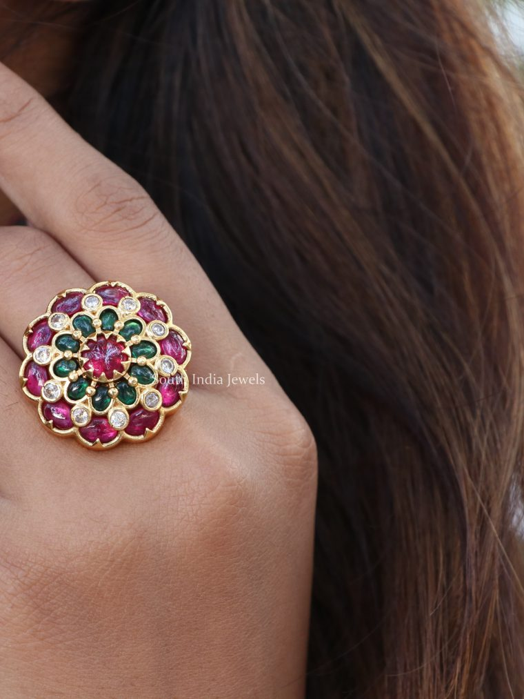 Floral Design Multi Stone Finger Ring-01