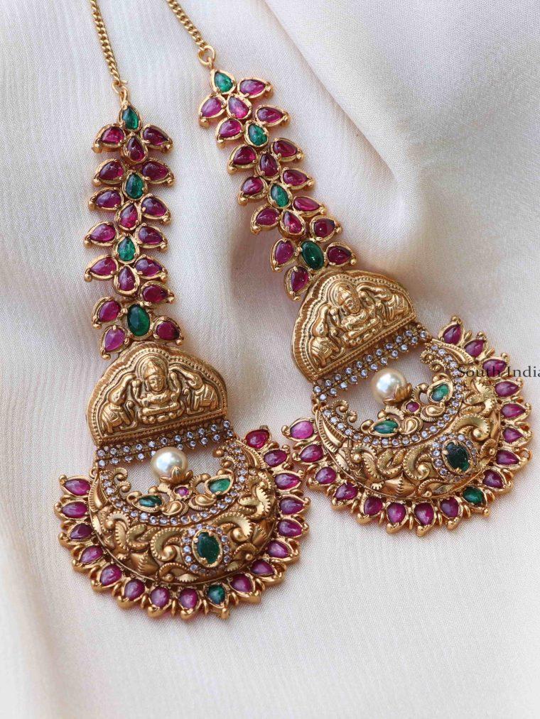Gold Finish Lakshmi Earrings with Ear Chain