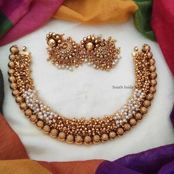 Gold and White Beads Loreal Necklace