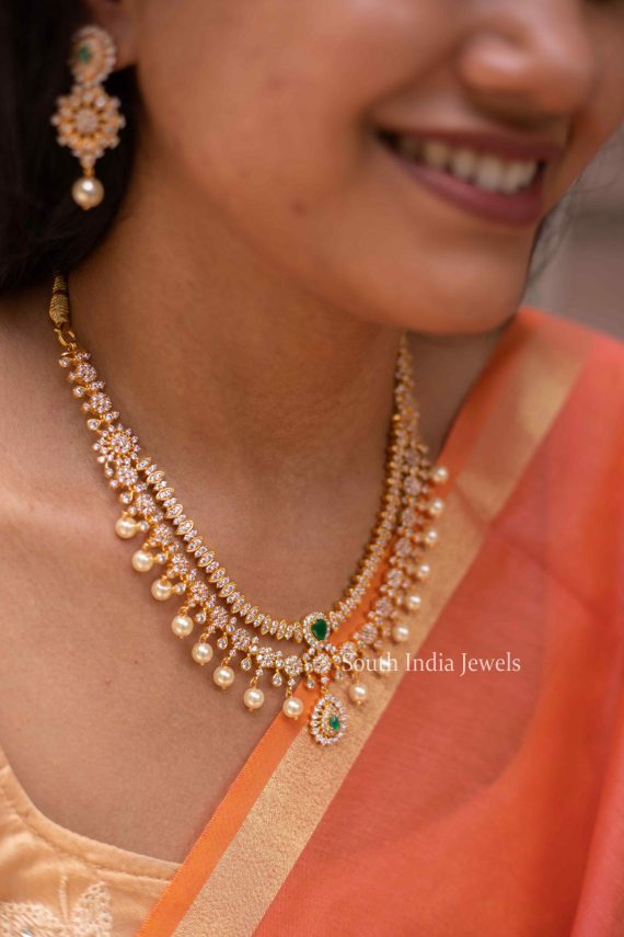 Gorgeous AD Two Layered Emerald Necklace