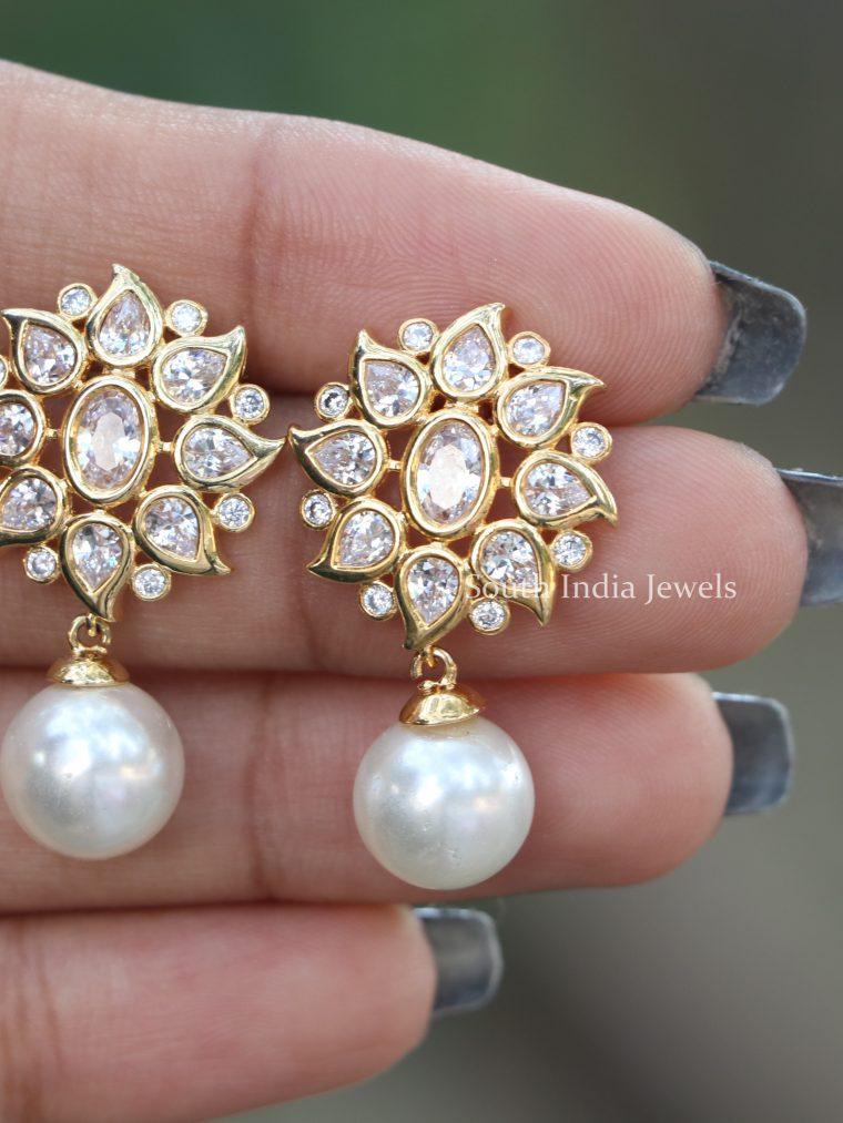 Gorgeous Stone Pearl Drop Studs