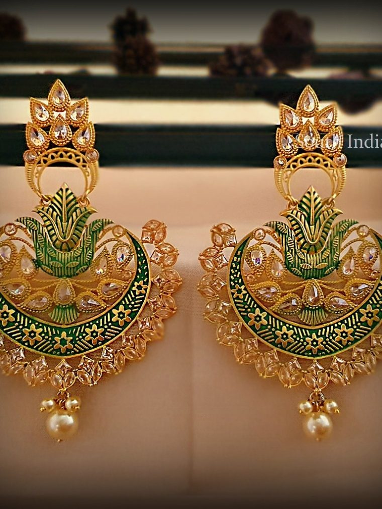 Graceful Green Chandbali Earrings