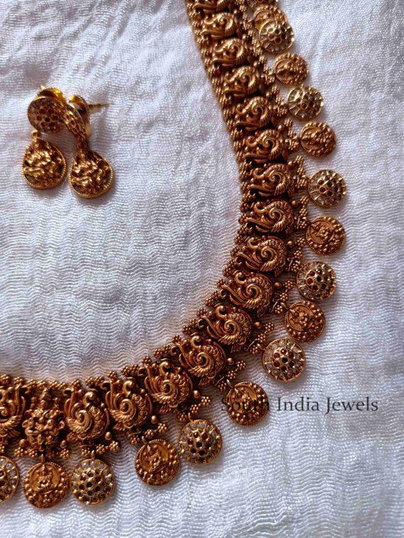 Graceful Lakshmi Coin Peacock Haram (2)